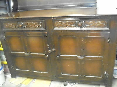 Old Oak Dresser Base With Drawers And Carved Detail -Collect Sy11