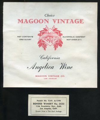 MAGOON VINTAGE California ANGELICA WINE Bottle & Permit Labels 1930's?