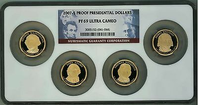 Exceptional 2007-S Presidential Dollar 5 Coin Proof Set NGC PF69 ULTRA CAM