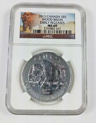 New (Slight Stains) 2013 Canadian Silver Wood Bison 1oz Early Release NGC MS69