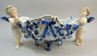 Antique Plaue German Porcelain Figural Basket Centrepiece C.1880