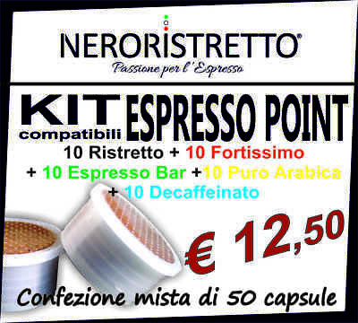 KIT ASSAGGIO 50 capsule caffe compatibili LAVAZZA ESPRESSO POINT gusti assortiti