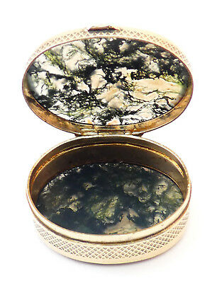 c1820, EXQUISITE ANTIQUE GEORGIAN GILT METAL & MOSS AGATE OVAL SNUFF PILL BOX