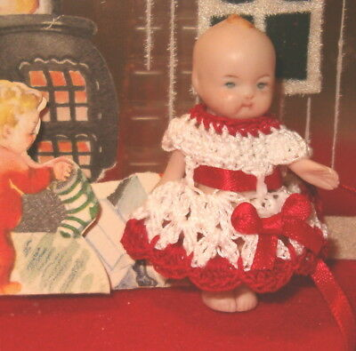 Pretty White and Red Dress for Dollhouse size Doll Handmade