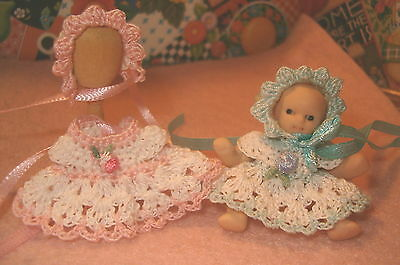 Crochet Miniature Doll Dress with Matching Bonnet Ooak
