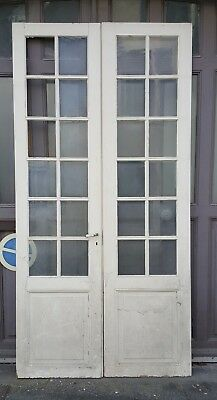 Lot de 2 doubles portes anciennes en pin, à  décaper deco loft vintage