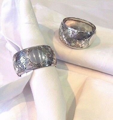Napkin Rings Pair English Sterling Victorian 1899 Silver Vintage