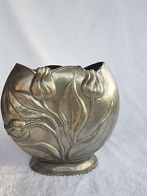 Outstanding Art Nouveau Silver Plated Pewter Vase c1900