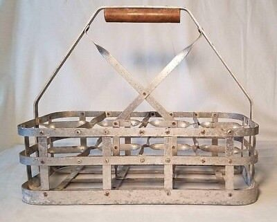 Old Galvanized  Metal Qt. Milk Bottle Carrier 8 Slots Perfect Vintage Condition!