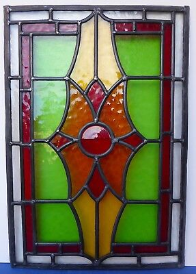 Gorgeous Antique Edwardian Stained Glass Leaded Panel Early 20thC