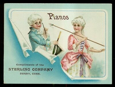 1890's Sterling Company Pianos Derby,CT J.P. Julius York,PA Advertising Card