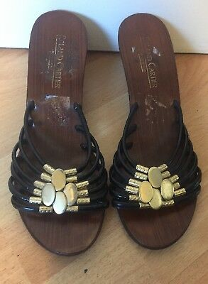 Vintage Roland Cartier wooden wedge sandals size 5