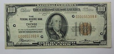 1929 $100 Federal Reserve Bank Note Chicago District FR 1890-G