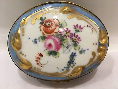 EARLY ANTIQUE SEVRES FRENCH PORCELAIN CHINA TRINKET JEWELRY DRESSER BOX Flowers