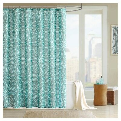 NICOLE MILLER Shower Curtain Floral Teal, Blue, White, Grey 72\