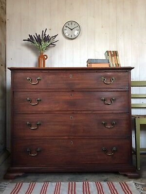 Large Antique 18th C. George III Chest Of Drawers With Brass Swan Neck Handles