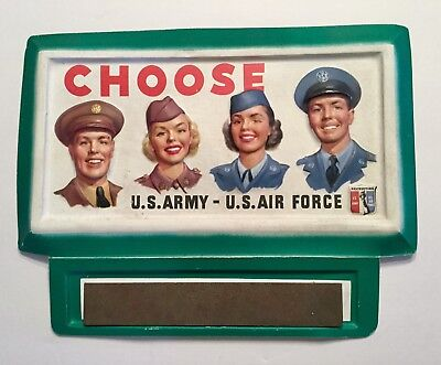 VINTAGE ORIGINAL SIGN Army Navy RECRUITING Display Vacuform Military Old Rare