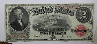 1917 $2 Two Dollar Bill Red Seal United States Large Currency Note Old Bill RARE