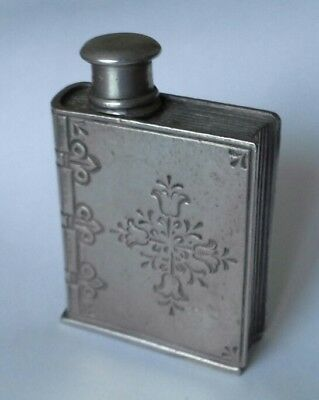VINTAGE PEWTER NOVELTY BOTTLE FLASK IN THE SHAPE OF A BOOK 6.5cms x 4.5cms