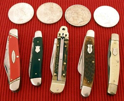 Hubertus Schrade Knife 5 Knives & 4 Peace Silver Dollar Coins JUNK DRAWER LOT