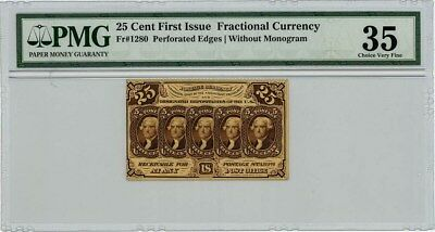 Fr. 1280 Twenty Five Cent 25c 1st Issue Fractional Currency Ch VF35 PMG