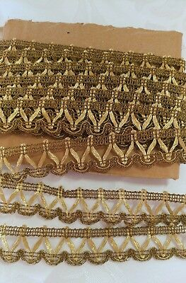 5.27_Yards_Antique_Golden_Bronze_Metal_Crocheted_Lace_Trim_Made_In_France_N.O.S_