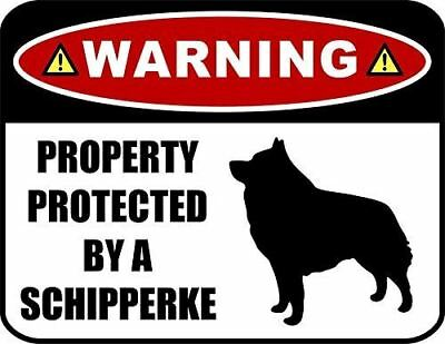 Warning Property Protected by a Schipperke (SILHOUETTE) Laminated Dog Sign