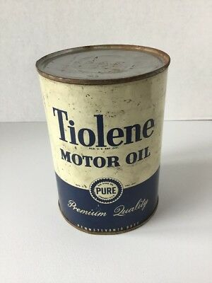 Tiolene Motor Oil Can ~ Oil ~ Gas ~ Pure Oil Company SAE 30 Empty metal Can NICE