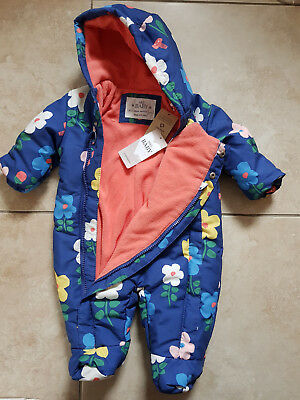 NEW BABY GIRLS M&S ALL IN ONE FLEECE LINED SNOW SUIT with STORMWEAR 0-3 MONTHS