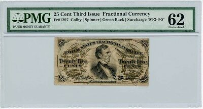 Fr. 1297 Twenty Five Cent 25c 3rd Issue Fractional Currency Unc 62 PMG