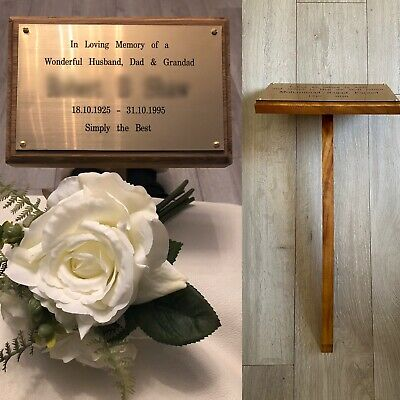 wooden memorial stake with free engraved plaque grave marker solid wood