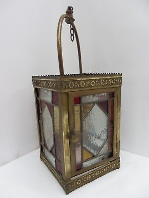 Victorian Antique Stained Glass Lantern with Door