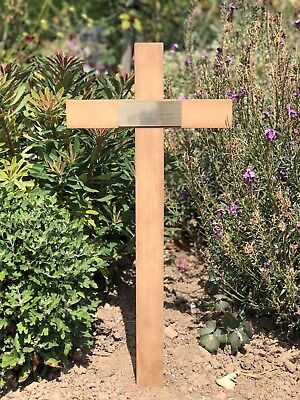"""Memorial cross with free plaque and free engraving solid wood handmade grave 17"""""""