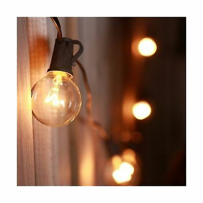 25Ft G40 Clear Globe Bulb String Lights with 25 G40 Incandescent Bulbs + 3 Sp...