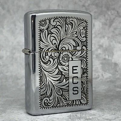 1978 Vintage Zippo Lighter - Rare Black Venetian Design - Unfired Insert