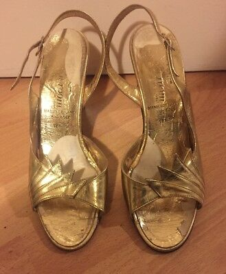 Vintage Gold Metallic slingback stiletto sandals size 4