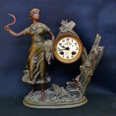 Rare Antique French 1920s Clock Societe Clusienne Cluses Peasant Woman w/ Scythe