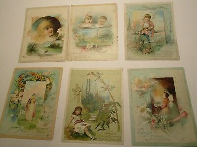 Lion Coffee Victorian Trade Cards Easter Lot of 6 Large 5 X 7