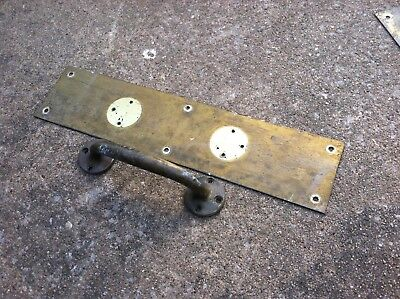 Old Cast Brass Door Handle STORE Shop PULL with PLATE-VERY NICE!
