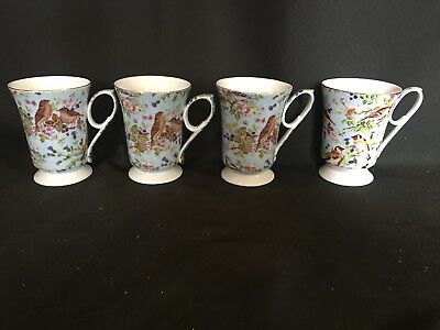 4 Paul Jay & Sons  Mugs Cups Robins Egg Blue Flowers Birds