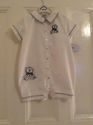 Sarah Louise Romper Suit, age 3 months, White with two teddies on Front, BNWT
