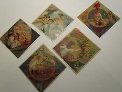 Lion Coffee Victorian Trade Cards Christmas Lot of 5