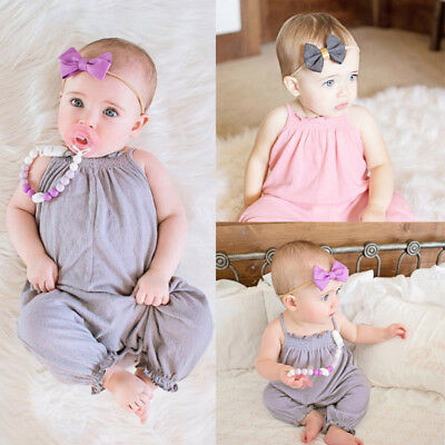 Kids Baby Girl Strap Romper Jumpsuit Harem Trousers Holiday Clothes Outfits Set