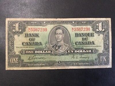 1937 Canada Paper Money - One Dollar Banknote !