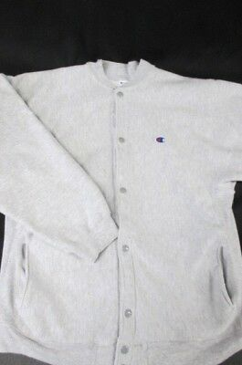 Vtg 80's 90's Champion Reverse Weave Snap Button Cardigan Sweatshirt Gray XL