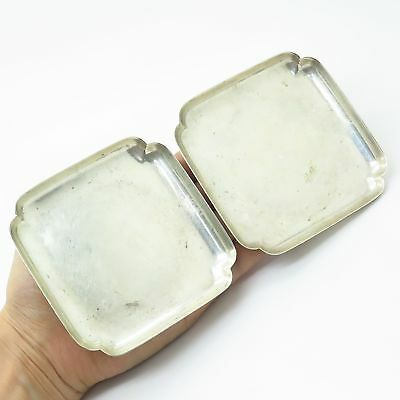 Vintage Tiffany & Co. 925 Sterling Silver Set Of 2 Square Dishes / Coasters