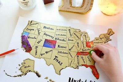 UNITED STATES OF America Scratch Off Travel Map (US USA) - $22.00 ...