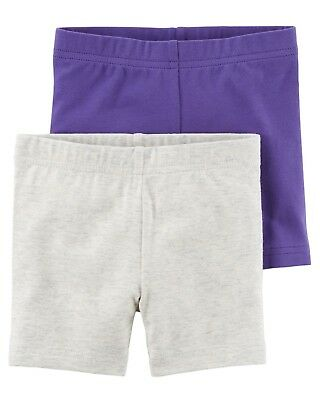 Carter's Toddler Girls 2-Pack Tumbling Shorts in Purple and Heather, 4T