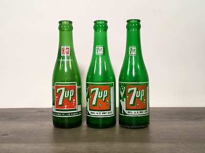 Three Vintage Green Glass 7Up 7 Ounce Bottles