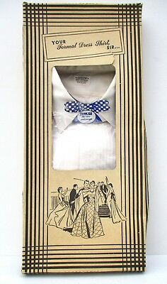 Vtg Arrow FRANZ Tuxedo Shirt In Original Box 1940 50s WWII USA Nassau Sanforized
